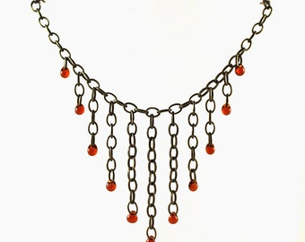 Brass and Amber Bibb Necklace / Medieval SCA Jewelry