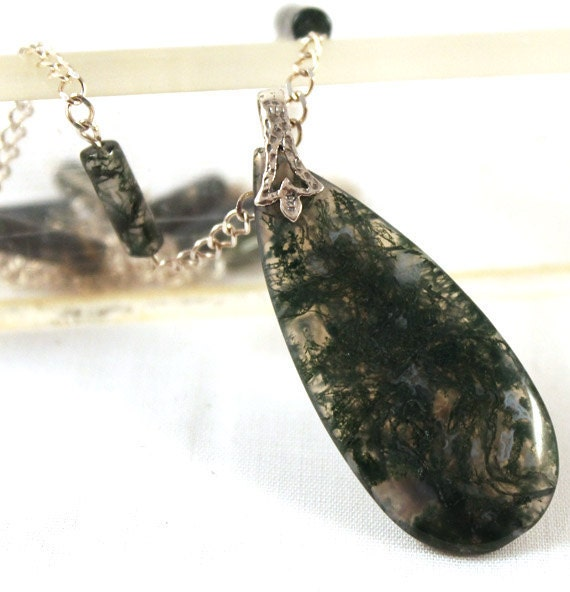 Moss Agate Necklace: Teardrop Focal, Silver Plated Chain and Moss Agate Tube Bead
