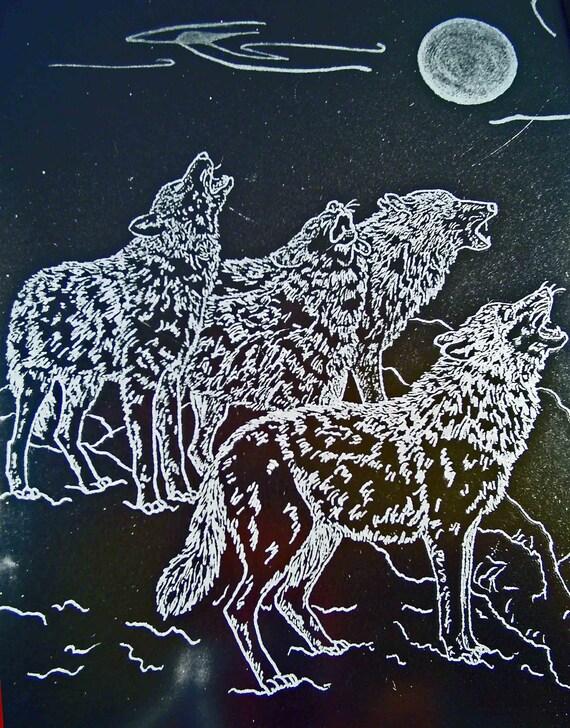 Wolves Hand Engraved Glass Dimensional Framed Art Work
