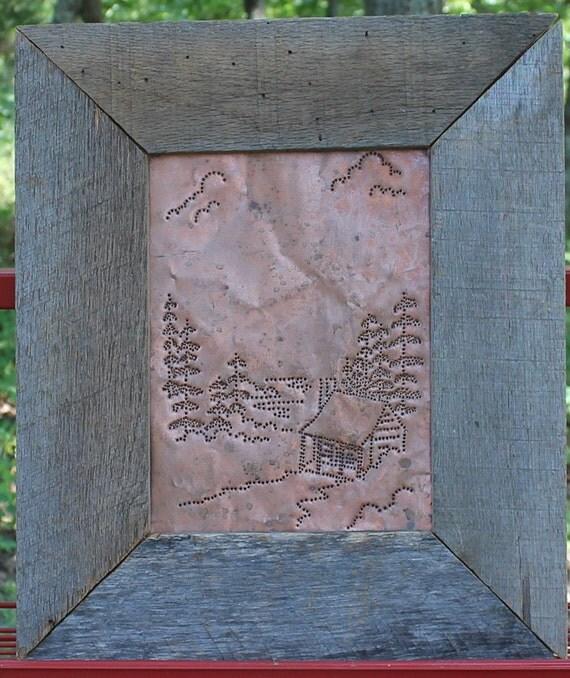 Primitive Copper Tin Punch Pie Safe Panel Rustic Oak Frame