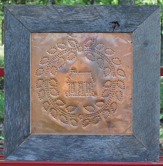 Primitive Copper Punched Tin Panel Rustic Oak Frame Tin
