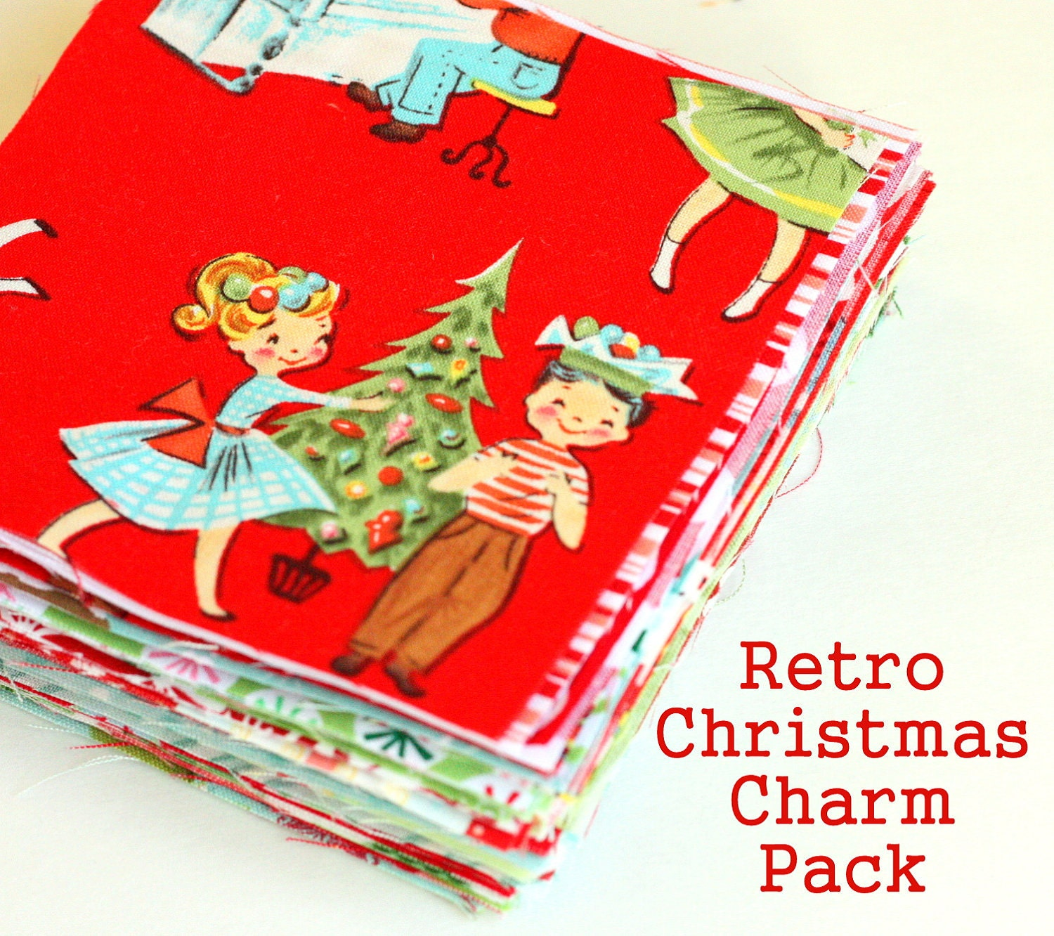 Quilting Patterns Charm Packs : Retro Christmas Charm Pack & Quilt Pattern