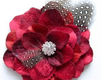 Rockabilly red flower with feathers and rhinestones