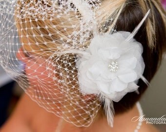 Diamond white bridal flower with feathers and rhinestones - CHICAGO no.64