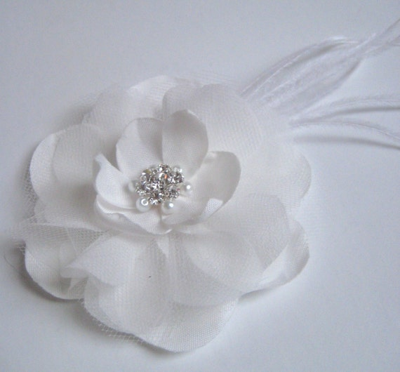 Diamond white bridal flower with feathers, pearls and rhinestones - CUSTOM ORDER RESERVED for dkrisdak