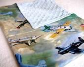 WWII Planes Minky Blanket