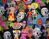 2 yds 18 in Day of the Dead Los Novios Fabric
