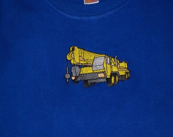 Toddler T-shirt with a heavy equipment Crane embroidery