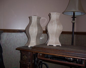 Pair of  Vintage Mocha cream Lamps with light kits