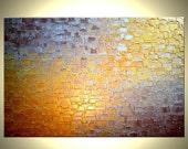 Original Painting, Gold Metallic, Palette Knife Abstract Art, Bronze Modern Art, Textured Art, 24x36 Painting, Art On Sale, Canvas Art