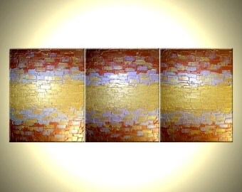 22% Off, Original Abstract Gold Painting, Palette Knife Art, ORIGINAL Bronze PAINTING Lafferty - 48x20