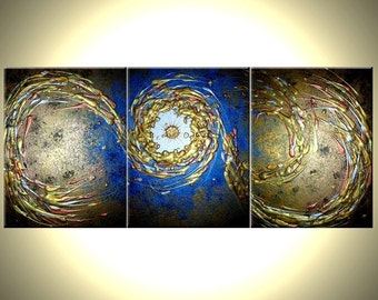 Original Abstract Blue Gold Metallic Painting by Lafferty - 24 X 54 - ONE DAY Sale , Spring Gift, Spring Day Sale