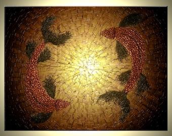 Koi Fish Painting, Original Abstract Carp, Red Copper Koi, Gold Metallic Art, Asian Fish, Lafferty - 48x36 Sale 22% Off