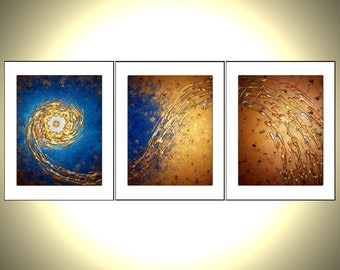 3 8x10 Fine Art PRINTS With MATTES of Original Contemporary Modern Abstract Gold Blue Metallic Painting By Dan Lafferty - Star In The Night