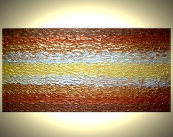 Metallic Painting, ORIGINAL Art, Gold Abstract Paintings, Palette Knife Textured Art by Lafferty - 48x24 Sale 22% Off