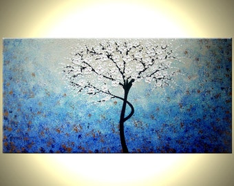 Tree Painting, Original Painting, Abstract Art Landscape Painting, Large Painting Tree of Life, Cherry Blossom Floral Tree by Lafferty 24x48
