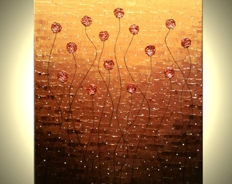 Original Impasto Red Flowers Painting Textured Blossom Landscape Roses Poppies Palette Knife Art by Lafferty, 48X36 - 22% off