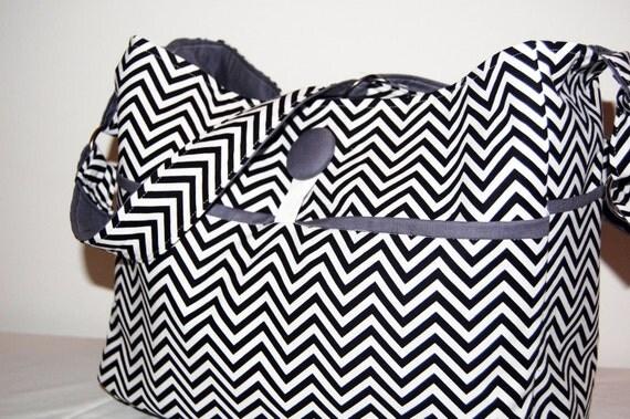 9 pocket chevron diaper bag w/ adjustable strap & FOB- ready to ship