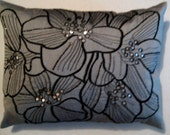 2 Silver and Black Pillow Covers  12 x 16