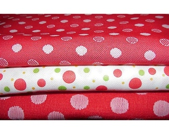 Vintage POLKA DOT--Polyester Fabrics--Assorted--Three Different Patterns