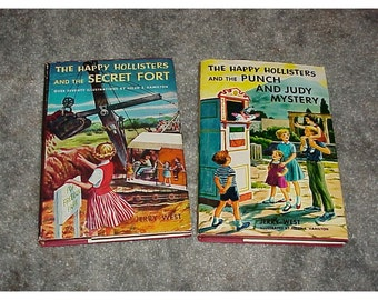 2--The Happy Hollister's--HC--BOOKS--Secret Fort--Punch And Judy Mystery--With Jackets-1955-1964