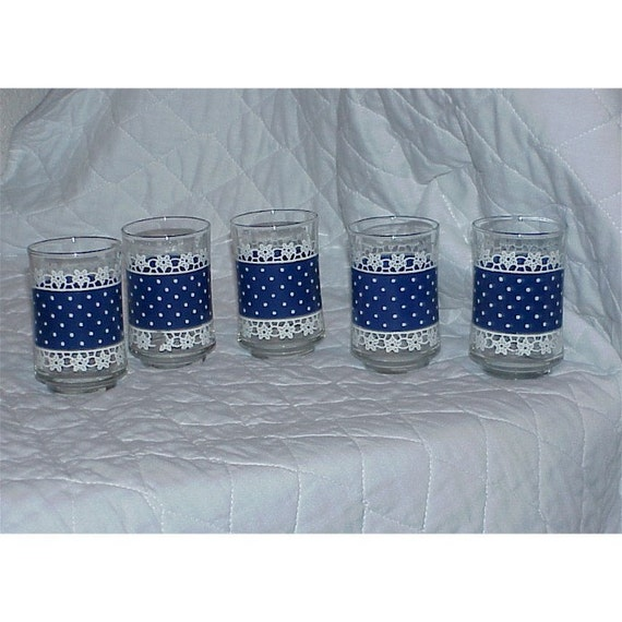 Set Of 5--Vintage--Juice GLASSES--Polka Dots And Lace--Blue And White--Polka Dot--TREASURY Item