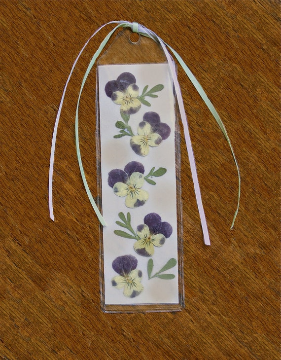 Pressed Violets  Bookmark with Ribbons