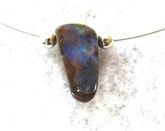 SPECIAL PRICE, Opal Pendant, Australian Boulder Opal on Stainless Steel - Item 303124