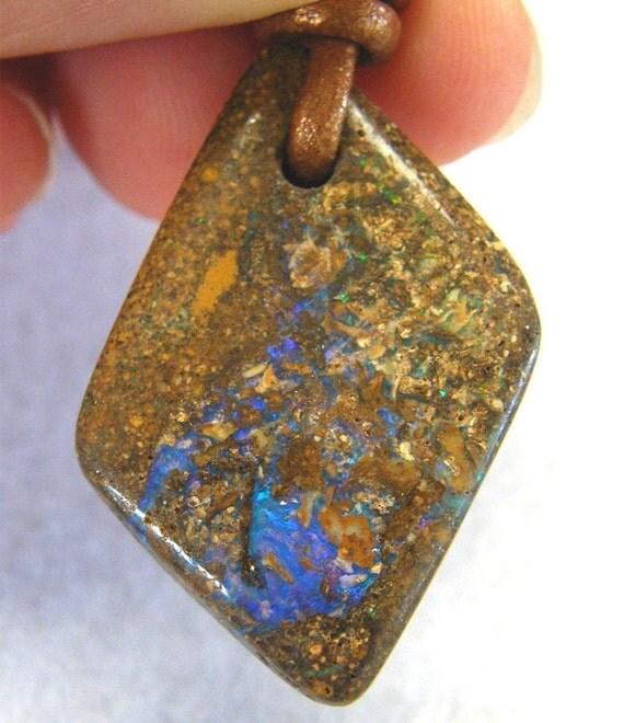 Australian Pipe Boulder Opal on Leather