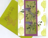 FOUR handcrafted handpainted NOTE / Cards Embossed BLANK inside