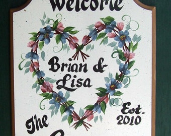 HEART Welcome Sign-WEDDING-ANNIVERSARIES-Personalized weatherproof Great Gift Idea