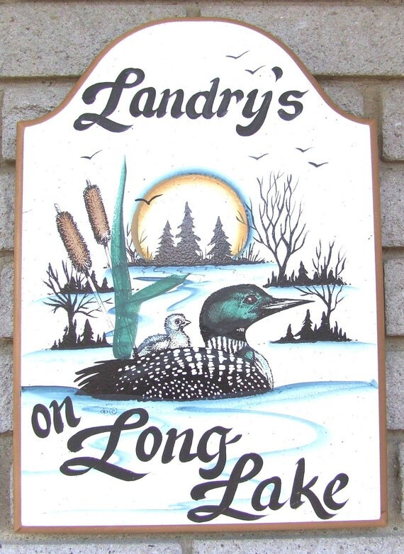 LOON Welcome/Address SIGN:Home-Lake-Cabin-River-Cottage Great Gift Idea