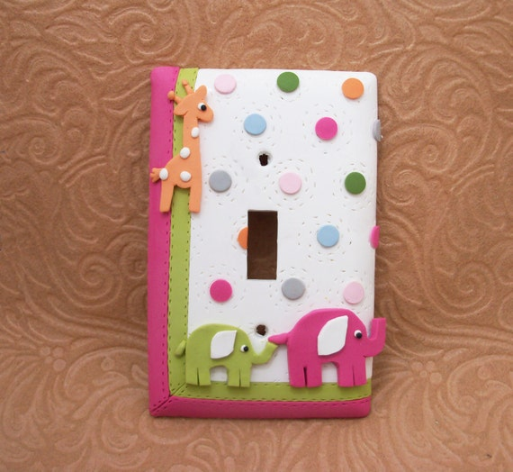 Two Giraffe and Elephant Lightswitch covers and One Nightlight - Reserved for Amy