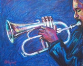 Jazz Music Painting, Original Oil Pastel on Paper, 8 x 10, Night Music by Bethany Bryant