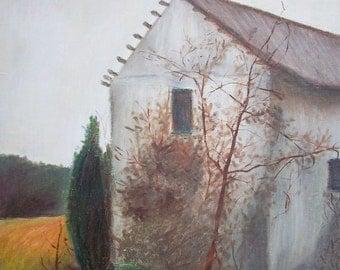 North Carolina Barn Painting,  16 x 20 Original Oil on Canvas, Hillsborough Barn