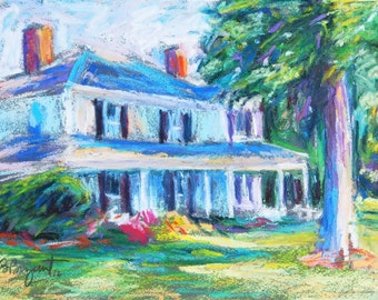 Farmhouse Painting, 5 x 7 Original Oil Pastel Painting, Afternoon Shadows by Bethany Bryant