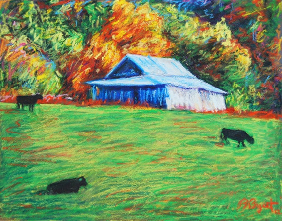 Farm Cows, Notecard from painting, Blue Ridge Cows by BethanyBryant,  Blank inside, folded