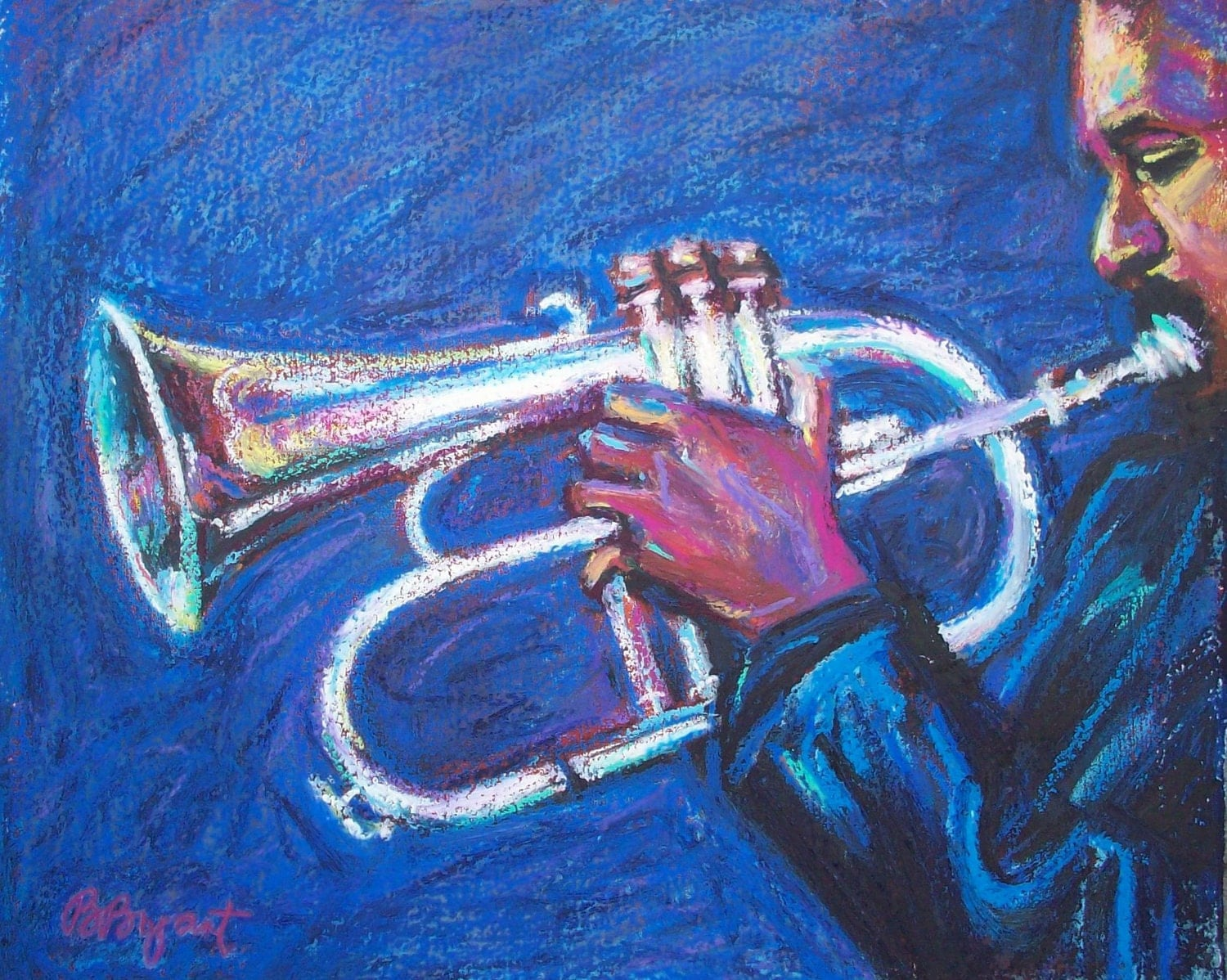 Jazz Music Painting Original Oil Pastel On Paper 8 X 10