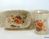 Floral Mid-Century Vintage Japanese Bath Accessories