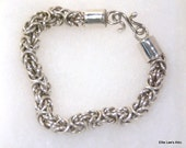 Vintage Byzantine Chain Maille Sterling Silver Bracelet