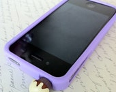 Purple Slicone Gel Iphone 4/4S Case with Cute Earphone Plug