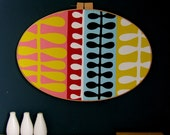 Oversized Modern Wall Hoop - red, blue, white, pink, yellow