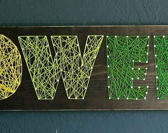 4 letter modern string art wooden name tablet made to order