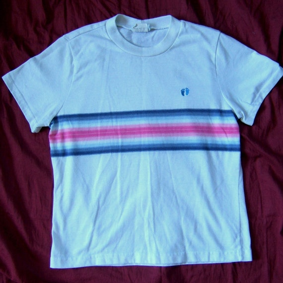vintage hang ten t shirt pink and blue stripe