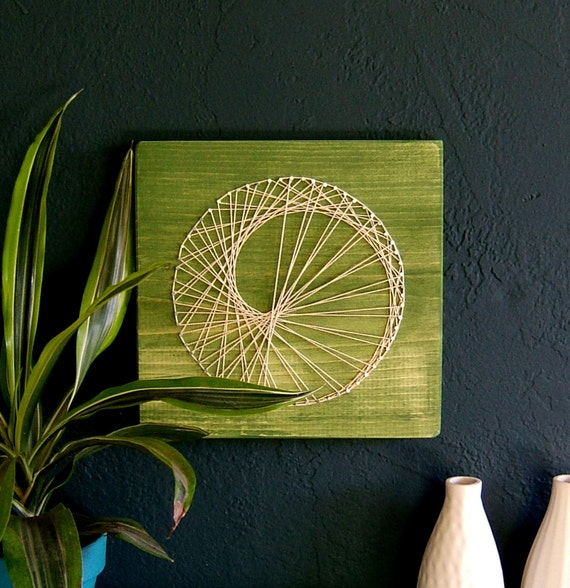 Modern String Art Wooden Tablet - Sea Snail on Green Tea