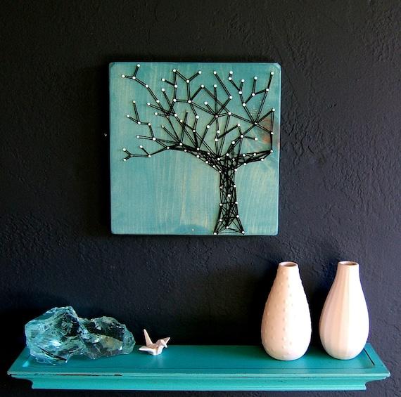Modern String Art Wooden Tablet - Winter Oak on Cozumel