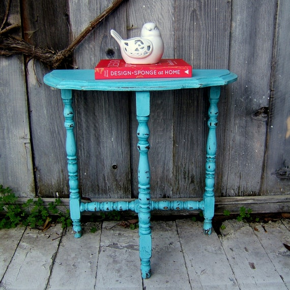 Turquoise Shabby Chic Side Table