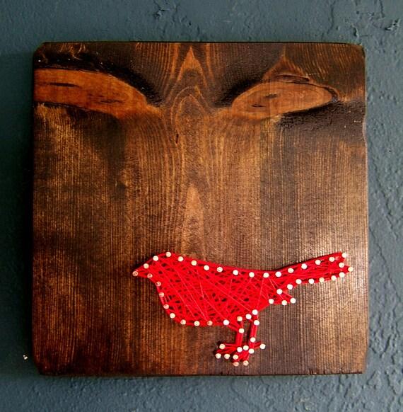 Red Bird on Dark Walnut - Modern String Art Tablet