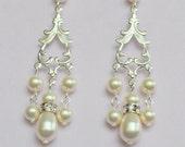 Bridal Earrings. Chandelier Swarovski Pearl Earrings, Elegance Collection.
