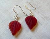 Glass Leaf Earrings - Small Dark Red